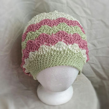 crochet slouch hat spring chevron cotton and silk cloche hat shell fan pattern Pale green lime green and dark rose pink