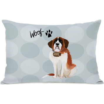 """Pup Words Saint Bernard"" Indoor Throw Pillow by April Heather Art, 14""x20"""