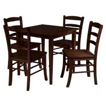 5 Piece Groveland Dining Table Set with 4 Chairs Wood/Antique Walnut - Winsome : Target