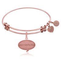 Expandable Bangle in Pink Tone Brass with How You Doin Symbol