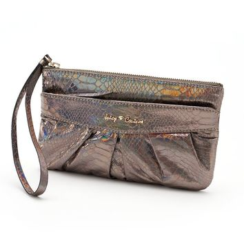 Juicy Couture Pleated Snakeskin Wristlet (Grey)