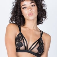 See Through Floral Bralette