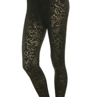 Sexy Black Floral Mixed Fabric Stretchy Leggings/ Clubwear Tights