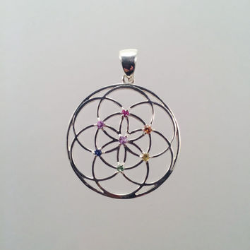 Sacred Geometry ~ Seed of Life Pendant with Red, Orange, Yellow, Blue and Purple Sapphires and Tsavorite set in 925 Sterling Silver