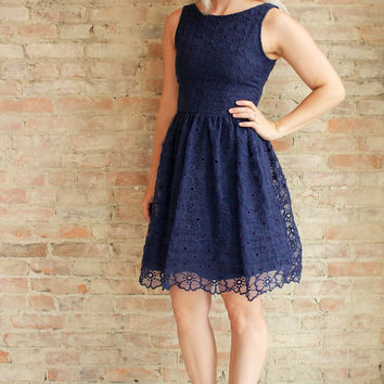 Beauford Fit and Flare Dress - navy