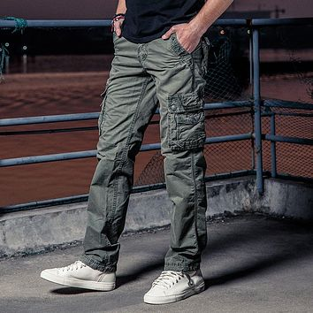 Spring Cotton Military Pants Men Loose Cargo