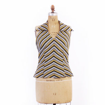 Vintage 50s HALTER TOP / 1950s Gray & Gold Chevron Stripe Low Back Rockabilly Blouse L
