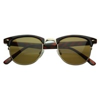 zeroUV - Vintage Half Frame Semi-Rimless Horn Rimmed Style Classic Optical RX Sunglasses (Tortoise-Gold/Brown)