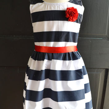 Nautical Stripe dress, Navy Red dress, Navy blue stripe dress, Nautical girls dress, Nautical Wedding dress, party dress, 4th of July