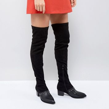 PrettyLittleThing Studded Over The Knee Boot at asos.com