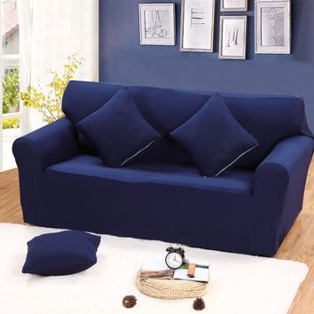 Solid blue color universal sofa cover for single double three four seater reclining sofa slipcover elastic stretch protector