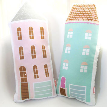 Mint Green House Plush Pillow / Children's Decor/ Modern Nursery/ Pillow/Cushion