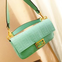 Fendi New Fashion more letter leather shoulder bag women Mint Green