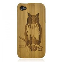 Generic Bamboo Case for iPhone 4 / 4S - Hand Carved Owl Color Wood