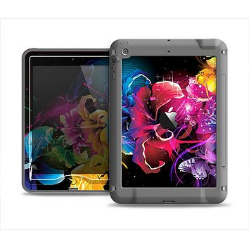 The Abstract Bright Neon Floral Apple iPad Air LifeProof Nuud Case Skin Set