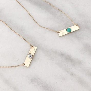 Golden Bar with a Center Stone Dainty Necklace