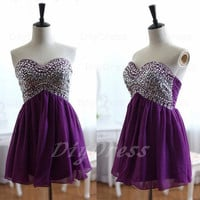 A-line Strapless Sweetheart-neck Short Prom Dresses,Purple Chiffon Cocktail Dresses,Empire Homecoming Dresses