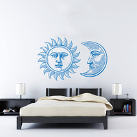 Wall Decal Vinyl Sticker Decals Art Home Decor Design Mural Sun Moon Crescent Dual Ethnic Stars Night Symbol Sunshine Fashion Bedroom AN646