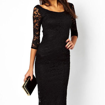 Pretty Lady Lace Overlay Evening Midi Casual Little Black Dress