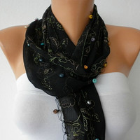 Black  Scarf  -   Cowl with Wood Bead  Edge