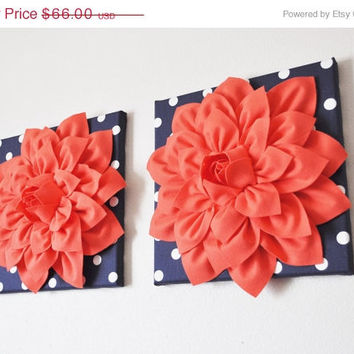 """MOTHERS DAY SALE Two Wall Flower -Coral Dahlia on Navy and White Polka Dot 12 x12"""" Canvas Wall Art- Flower Wall Art"""