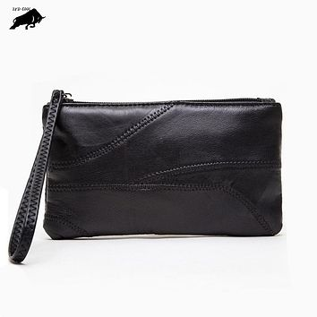 ZYD-COOL Fashion 100% Genuine Leather Wristlet Day Clutch Evening Bag Fashion Women Mobile Phone Bag Coin Purse Ladies Wristlet