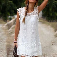 White Lace Embroidered Sleeveless Mini Dress