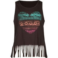 Full Tilt Heart Fringe Girls Tank Charcoal  In Sizes