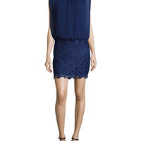 Lace/Chiffon Blouson Combo Cocktail Dress, Size: