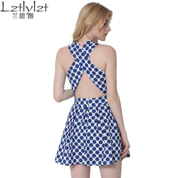 Lztlylzt New Summer Women Dresses 2016 Sleeveless Chiffon Polka Dots Printed Sexy Backless Club Party Short Dress Vestidos