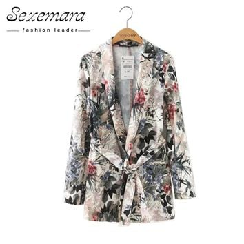 Floral Vintage Women Blazers 2017 New Ladies Outwear Sashes Jackets Casual Notched Collar Long Sleeves Pocket Coat High Quality