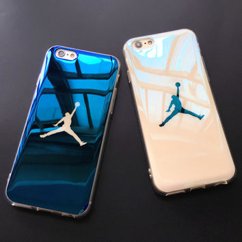 Fashion Flyman Jordan Case Cover for iPhone 7 6 6s Sport Basketball Blue-ray Soft Rubber Case for iphone 7 6 6s Plus Protective