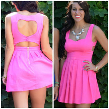 Queen of Hearts Fuchsia Cut Out Heart Back Dress