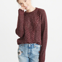 Womens Airspun Cable Crewneck Sweater | Womens Tops | Abercrombie.ca