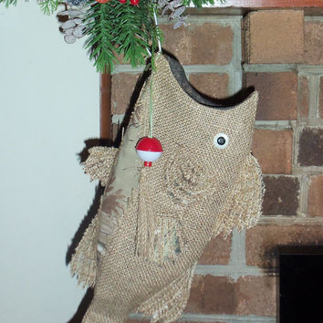 "Burlap Christmas Fish Stocking with Camo Cut Work  22"" to 23"" From Hook to Tail. Mossy Oak, Realtree, Stocking, Hand Designed"