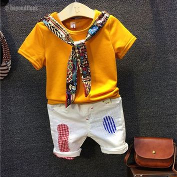 2018 Summer Fashion Cotton Yellow Short Sleeve T-shirt+ Patch White Pant 2-7Y
