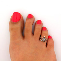 Vintage look sterling silver toe ring turtle toe ring adjustable toe ring