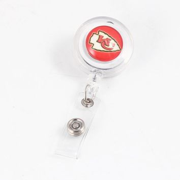 2018 Newest US Football Design Kansas City Chiefs Retractable ID Badge Reel For Bank Credit Card Holders Card Bus ID Holder