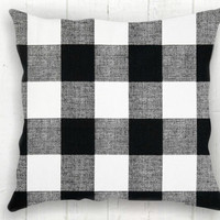 Black Buffalo Check Pillow Cover - Black and White Check Pillow, Farmhouse Decor, Fall Pillow, Farmhouse Pillow, 16 x 16, 18 x 18, 20 x 20