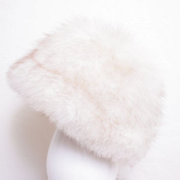 Beautiful Fluffy White and Cream Fox Fur Cloche Hat by Flemington Furs, Perfect for the Cold Winter Months