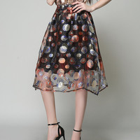 Cute Multi Colored Embroidered Fluffy Sequin Skirt