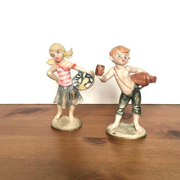 Vintage Depose Fontanini Italian plastic figurines girl and boy children