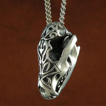 "Wolf Jewelry Antique Silver Native American Wolf Skull Necklace with Tribal Design on 24"" Antique Silver Chain"