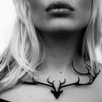 Supermarket: Deer Statement Necklace (Black) from Smashing Designs