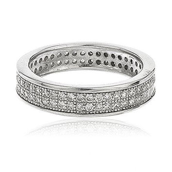 Ladies 925 Sterling Silver Cubic Zirconia Stone Eternity Band Sizes From 7-9