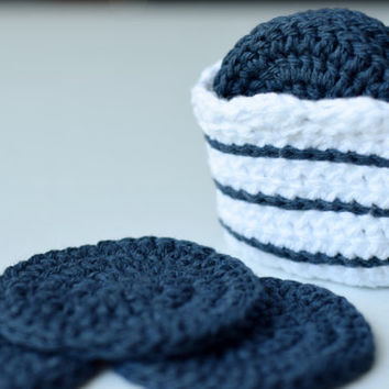 Set of 7 Face Scubbers/Scrubbies with Basket (100% Cotton) Navy with Nautical Stripes - More Colors in Our Shop!