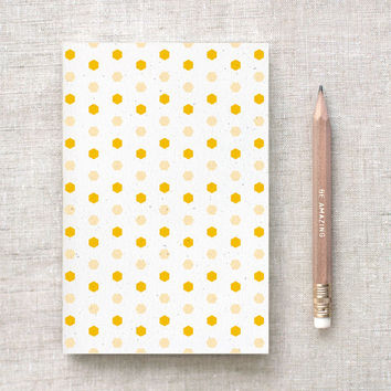 Patterned Notebook & Pencil Set - Hexagon Honey, Wine OR Cyan - Graduation Gift, Recycled Journal, Birthday Party Favors, Geometric Notebook