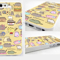 pusheen cat iPhone 4,4s, 5C, 5S,5, glossy cover Case,Tie Dye,unicorn,Emoji,pizza