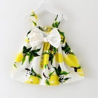 2017 New Baby Girls Dress Infant Girl Dresses Fashion Print Clothes Sleeveless Slip Dress Princess Birthday Dress Pink Yellow