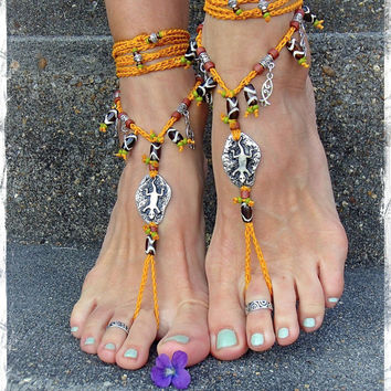 Petroglyph GECKO Lizard BAREFOOT SANDALS Turmeric Yellow Crochet Sandals Toe Anklets silver Ankle wrap sandal Tribal Totem animal GPyoga